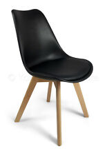 6 Black Toulouse Jamie Tulip Eiffel Style Padded Dining Chairs Vslight2nds