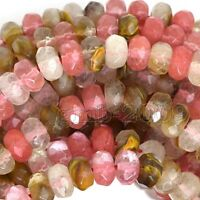 Beautiful 5x8mm Faceted Multicolor Tourmaline Gemstone Rondelle Loose Beads 15""
