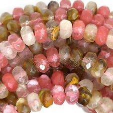 """Beautiful 5x8mm Faceted Multicolor Tourmaline Gemstone Rondelle Loose Beads 15"""""""
