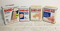 Band-Aid Johnson & Johnson LOT of 4 Vintage Metal Tin Boxes all sizes
