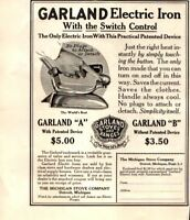 1916 Garland Electric Iron with Switch Control Appliance Vintage Print Ad 1145