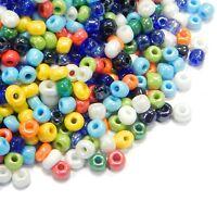 Rocailles Perlen 4mm 6/0 450g Opak AB Mix Glas Gemischt Perlenmischung Z31