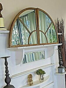 large  semi round outdoor HAMPTON MIRROR 100CM garden french gold 2 pieces new