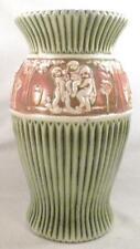 Roseville Donatello Vase 12 in. Art Pottery Pedestal Green Brown Cream Antique