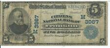 $5 1902 Franklin Indiana Citizens National Bank Note Large Currency CH# M3967