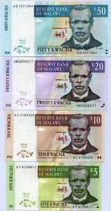 MALAWI SET 4 PCS 5 10 20 50 KWACHA 1997 P 36 37 38 39 UNC