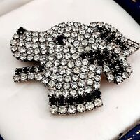 A Lovely Vintage 1980s Black & White Diamante DOG Brooch Pin