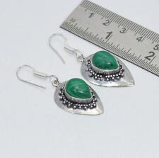 Hook Earring-2 Inch Kg536 925 Silver Plated Green Malachite
