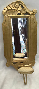 ORNATE WOODEN MIRRORED PILLAR CANDLE WALL SCONCE WITH A GOLD FINISH