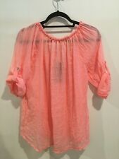 Light Neon Coral Smocked Peasant Top sz. Xl Made in Italy