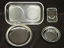4 Pc RECTANGULAR & ROUND STAINLESS STEEL MAGNETIC DISH SET SCREW BOLTS TRAY BOWL