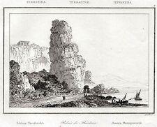 Terracina:Pisco Montano.Artaud.Steel engraving.Stampa Antica + Passepartout.1835