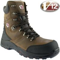 MENS V12 V-TECH ROCKY V1255 BROWN LEATHER SAFETY TOE CAP WORK ZIP BOOTS SIZE7-13