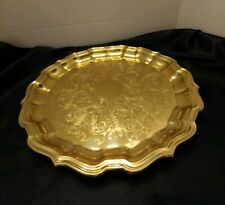 "Brass Tray ""Copper Craft Brassware"" Topeka, Kansas Diameter 12 "" gently used."
