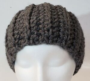 SALE Women's Medium Headband Handmade Crocheted Chunky Gray