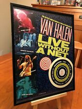 "2 BIG 11X14 FRAMED VAN HALEN ""LIVE & ""WITHOUT A NET"" LP ALBUM CD VIDEO PROMO ADS"