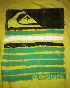 Quiksilver Surf Skate Yellow T Shirt Boys Size XL