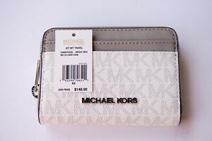 MICHAEL KORS JET SET TRAVEL MD ZIP AROUND CARD CASE WALLET MK SIGNATURE WHITE