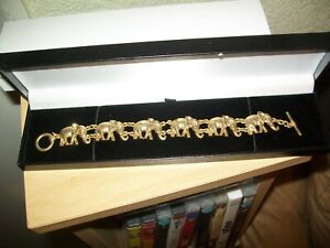 Ladies Heavy Quality Elephant Bracelet Gold Plated - Worn Once - In Lovely Case.