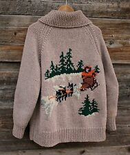 Vintage Hand Knit Full Zip Wool Sweater Jacket w Sled Dog Theme Mens Size Large
