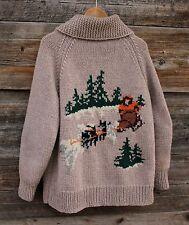 Vintage Hand Knit Full Zip Wool Sweater Jacket w Sled Dog Theme Mens Size Large