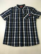 BOYS KICKERS BLUE CHECKED SHORT SLEEVE SHIRT SIZE UK 13 YRS