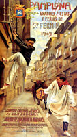 1909 PAMPLONA SAN FERMIN RUNNING OF THE BULLS SPAIN VINTAGE POSTER REPRO LARGE