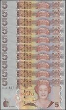 Fiji 5 Dollars X 10 Pieces (PCS), 2011, P-110b, UNC, Queen Elizabeth II (QEII)