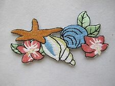 #4072 Ocean Clam,Starfish,Conch w/Flower Embroidery Iron On Applique Patch