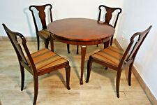 Antik Designer Esszimmer Tisch Tafel mit 4 Stühlen Stuhl Mahagoni old furniture
