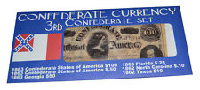 American Civil War 3rd Confederate Replica Currency Money Parchment Banknotes