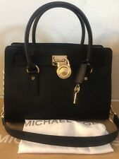MICHAEL KORS HAMILTON EW SAFFIANO SATCHEL IN BLACK/GOLD-NWT-FreeShip!