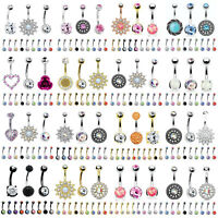 BodyJ4You 12PCS Belly Button Rings CZ Created-Opal 14G Dangle Navel Jewelry Set