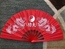 Abanico chino japonés, estilo retro, Xlarge Rojo Jin Jan seda con marco Plast