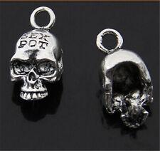 PJ376 6pc Tibetan Silver skull Charm Beads Pendant accessories wholesale