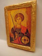 Saint George Christianity Rare Greek Byzantine Eastern Orthodox Icon Wood Plaque