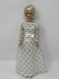 Vintage Clone Barbie Babs Clothes Doll Outfit WHITE Silver LACE Satin Bow GOWN