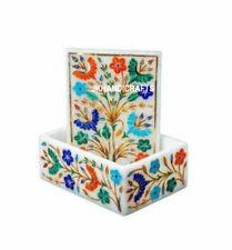 Marble Jewelry Box semi precious stones floral Inlay art Handmade Decor & gift