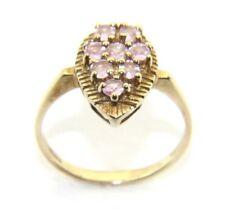 da donna / 9 carati / 9ct oro giallo,Rosa 8 INCASTONATI Abito anello misura UK N