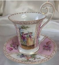 Dresden Antique Porcelain Cabinet Cup And Saucer Stunning Pink Colour