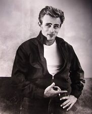 REBEL WITHOUT A CAUSE clipping James Dean classic pose B&W photo 1955 cigarette