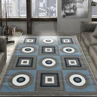 Area rug Nwprt #59 Modern gray white blue soft pile size option 2x3 4x5 5x7 8x11