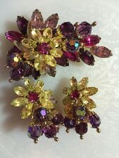 Hobe Brooch And Clip Earrings Floral Purple Pink Rhinestones Jewels Signed