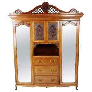 "Victorian Carved Walnut Armoire Wardrobe ""Charles Jenner"" Scotland 1890, B2382"