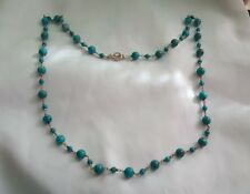 WK WHITNEY KELLY STERLING TURQUOISE BEADS TOGGLE NECKLACE 925 SIGNED