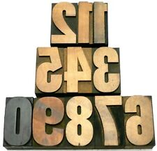 """Letterpress WOOD Type 2"""" BOLD Numbers 11pcs **Great Old Typeface**"""