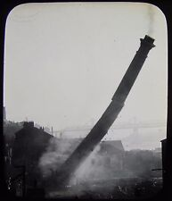 Glass Magic Lantern Slide VALLINS CHIMNEY STACK BEING BLOWN UP C1890 NEWCASTLE ?