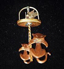 Pin w Dangle Bird in Bird Cage Old Vintage Copper Brass Jewelry Kitty Cat Brooch