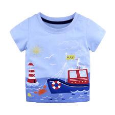 Boys Ship T-Shirt Age 18 24 Mths 2 3 4 5 6 Yrs Kids Blue T-shirts Top Clothes