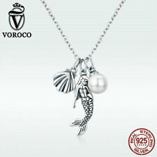 Voroco Mermaid Princess 925 Sterling Silver Necklace Pearl Charm Chain Jewelry
